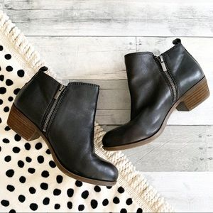 Lucky Brand | Black Leather Basel Booties 9W